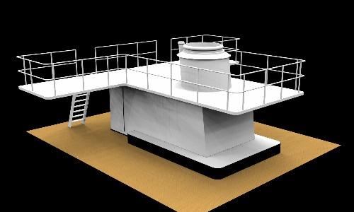 Brug, kombuis en schoorsteenoploop. In de oploop wordt technische apparatuur geplaatst.